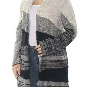 NEW Style & Co Gray Multi Textured Open Cardigan L